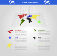 Fotomurales - World map infographic. Infographics vector background of earth design.