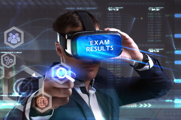 Business, Technology, Internet and network concept. Young businessman working in virtual reality glasses sees the inscription: Exam results