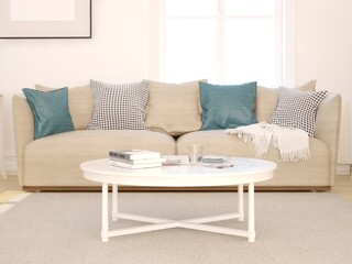 Mock up a Scandinavian living room with a classic sofa and a light background.