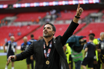 Huddersfield Town manager David Wagner celebrates after winning the Sky Bet Championship Play-Off Final and getting promoted to the Premier League