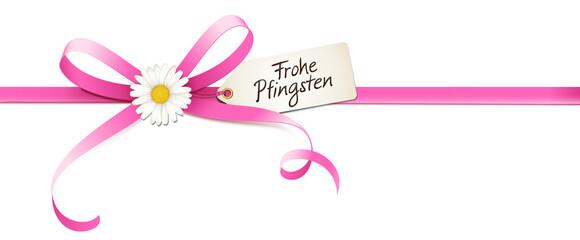 Geschwungene Schleife mit Margeriten Blüte und Etikett - Frohe Pfingsten