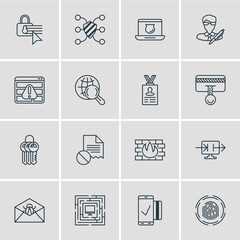 Vector Illustration Of 16 Internet Security Icons. Editable Pack Of Easy Payment, Corrupted Mail, Safeguard And Other Elements.
