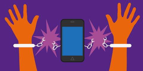 Smartphone - portable - menotte - addiction - liberté - addictif - libre -  libéré