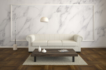 rustic living room with marble wall