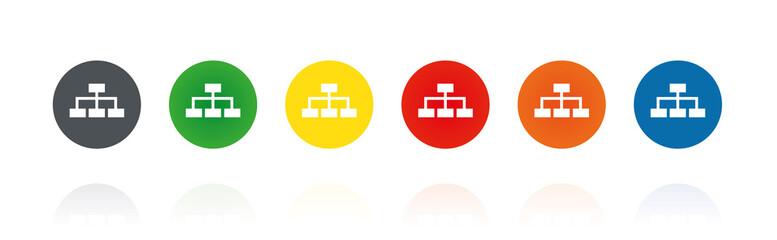 Netzwerk - Stammbaum - Ethernet - Farbige Buttons