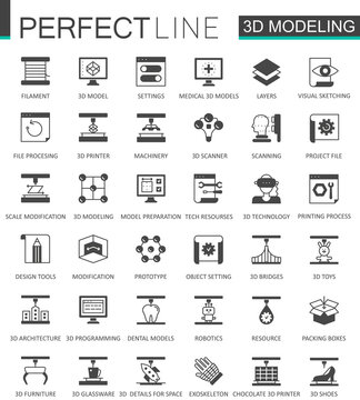 Black classic 3d modeling and printing web icons set.