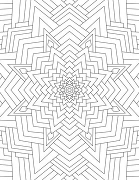 Page coloring book for adults mandala drawn with black lines on