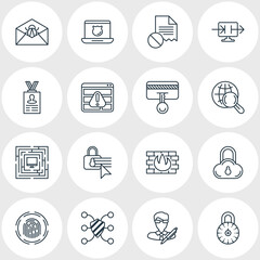 Vector Illustration Of 16 Web Safety Icons. Editable Pack Of Internet Surfing, Account Data, Corrupted Mail And Other Elements.