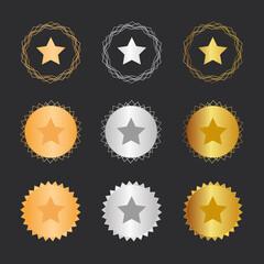 Stern - Bronze, Silber, Gold Medaillen