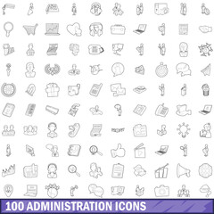 100 administration icons set, outline style