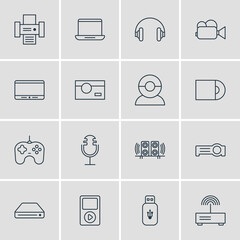 Vector Illustration Of 16 Technology Icons. Editable Pack Of Memory Storage, Video Chat, Monitor And Other Elements.