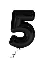 Black inflatable digit five. 3d render