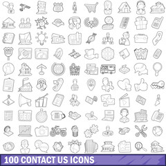 100 contact us icons set, outline style