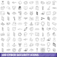 100 cyber security icons set, outline style