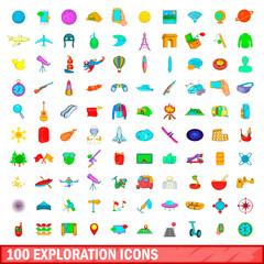 100 exploration icons set, cartoon style