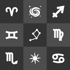 Set Of 9 Horoscope Icons Set.Collection Of Horoscope, Space, Zodiac Sign And Other Elements.