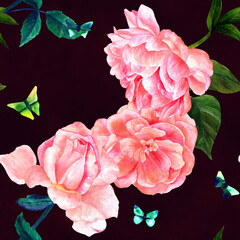 Seamless pattern, watercolor roses and butterflies on black