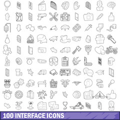 100 interface icons set, outline style