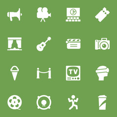 Set Of 16 Amusement Icons Set.Collection Of Pass, Megaphone, Cyberspace And Other Elements.
