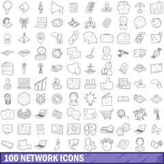 100 network icons set, outline style