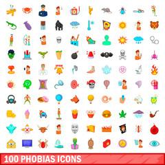 100 phobias icons set, cartoon style