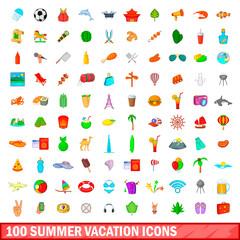 100 summer vacation icons set, cartoon style