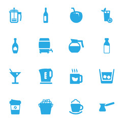 Set Of 16 Drinks Icons Set.Collection Of Cask, Wine, Hotdrink And Other Elements.