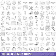 100 web design icons set, outline style