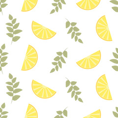 Seamless Floral Pattern. Lemon Fruits Background. Flowers, Leaves, Lemons. Vector.
