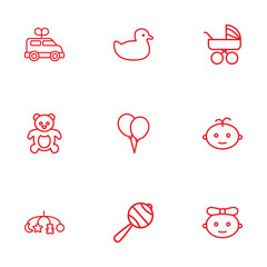 Set Of 9 Baby Outline Icons Set.Collection Of Balloons, Rattles, Boy And Other Elements.