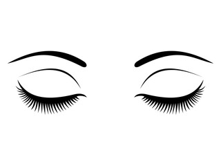 Closed eyes with black eyelashes on a white background.