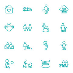 Set Of 16 People Outline Icons Set.Collection Of Family, Couple, Car And Other Elements.