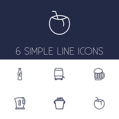 Set Of 6 Drinks Outline Icons Set.Collection Of Wine Cask, Cocos, Kettle And Other Elements.