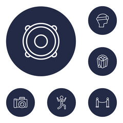 Set Of 6 Entertainment Outline Icons Set.Collection Of Photo Camera, Barrier Rope, Dancing Man And Other Elements.