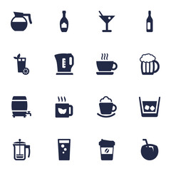Set Of 16 Beverages Icons Set.Collection Of Alcohol, Electric Teapot, Cream And Other Elements.