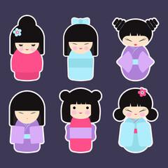 Kokeshi dolls vector icon set