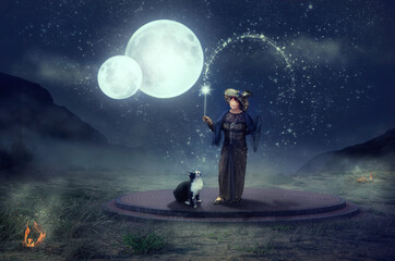 Mature fairy with cat perform a magical ritual