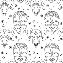 Seamless outline tribal mask pattern 3