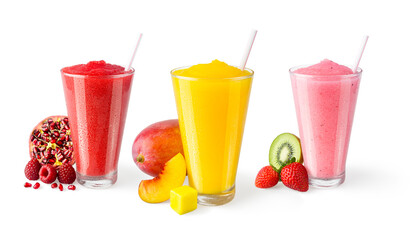 Three Flavors of Fruit Smoothies or Shakes with Straws and Garnishes on White Background