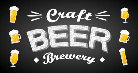 Craft beer banner. Vector illustration.
