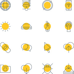 Vector Illustration Of 16 Network Icons. Editable Pack Of Cloud Download, Fastener, Computer Virus And Other Elements.