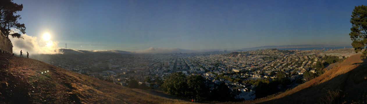 San Francisco Fog Creeping over Sutro from Bernal Hill Park