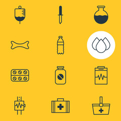 Vector Illustration Of 12 Medicine Icons. Editable Pack Of Antibody, Aspirin, Pills And Other Elements.