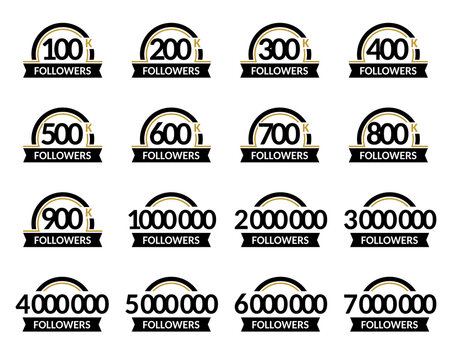 Jubilee for celebration. Number of followers, vector set of signs in a round frame with ribbon. Accurate design in black and gold colors.