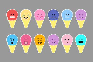 Set of ice cream, with color cream and different emotion face.
