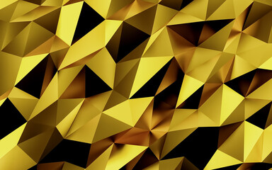 Abstract gold geometric background. Gold texture with shadow. 3D render