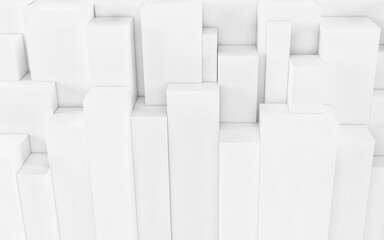 White Abstract geometric background from cubes. 3d render