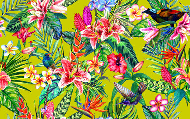 Seamless tropical floral pattern. Hand painted watercolor exotic leaves, flowers and birds, on citrus green background. Textile design.