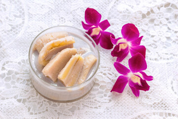 Banana Cooked in Coconut Milk (Kluay Buat Chi),Thai desserts made from banana and coconut milk.Sweet taste, it mellow.