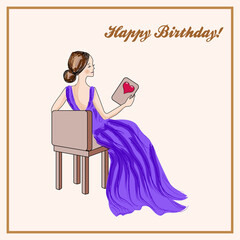 Happy birthday card with seated woman in purple dress.
